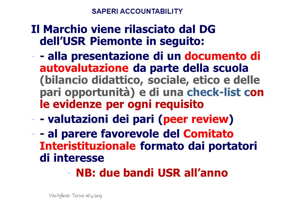 SAPERI ACCOUNTABILITY NB: due bandi USR all'anno