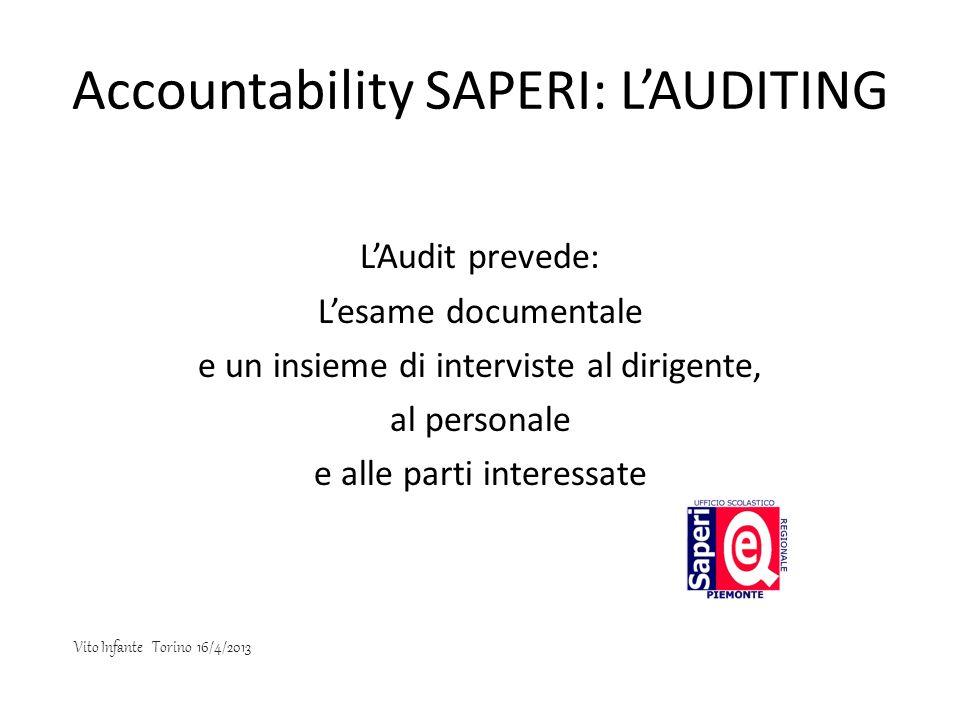 Accountability SAPERI: L'AUDITING