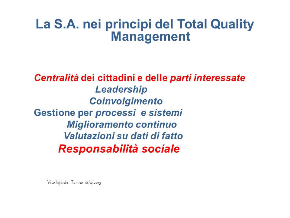 La S.A. nei principi del Total Quality Management