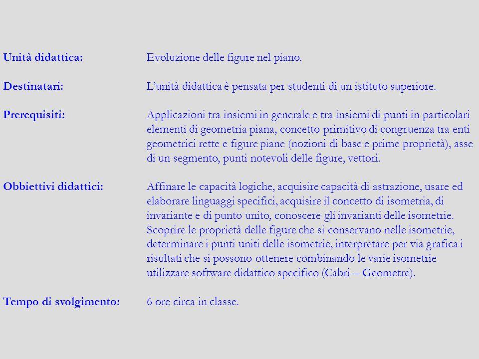 Unità didattica: Evoluzione delle figure nel piano.