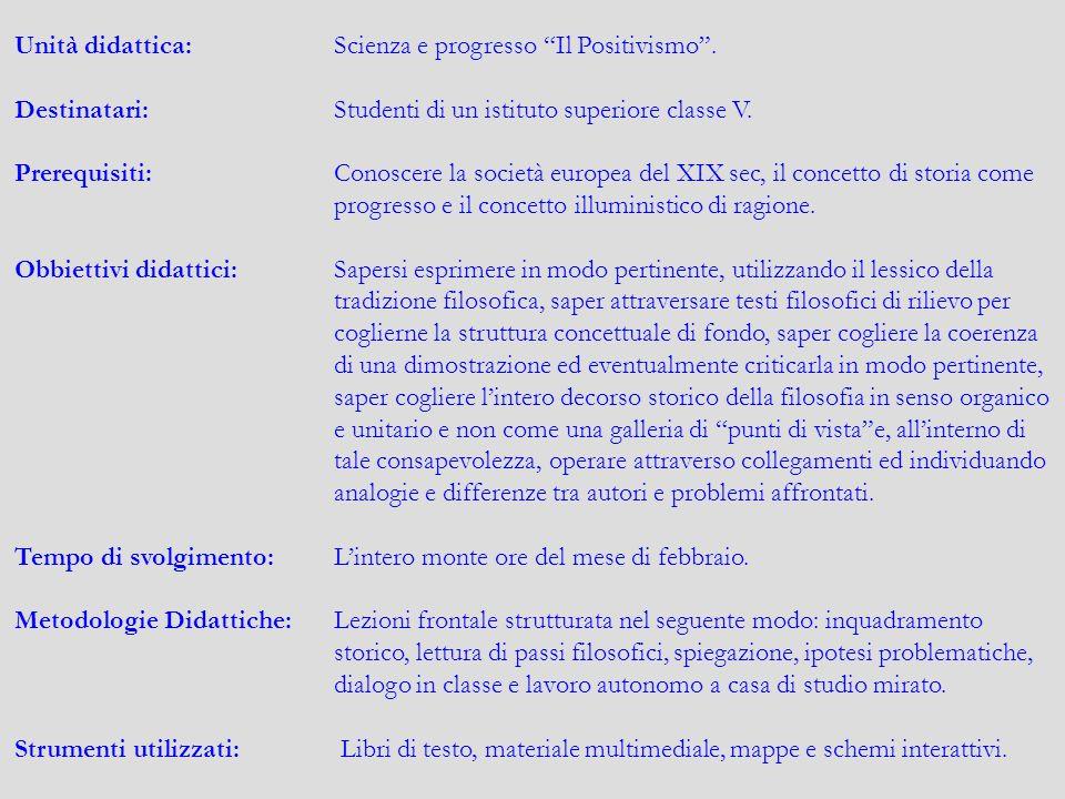 Unità didattica: Scienza e progresso Il Positivismo .