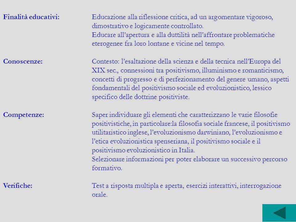 Finalità educativi: Educazione alla riflessione critica, ad un argomentare vigoroso, dimostrativo e logicamente controllato.