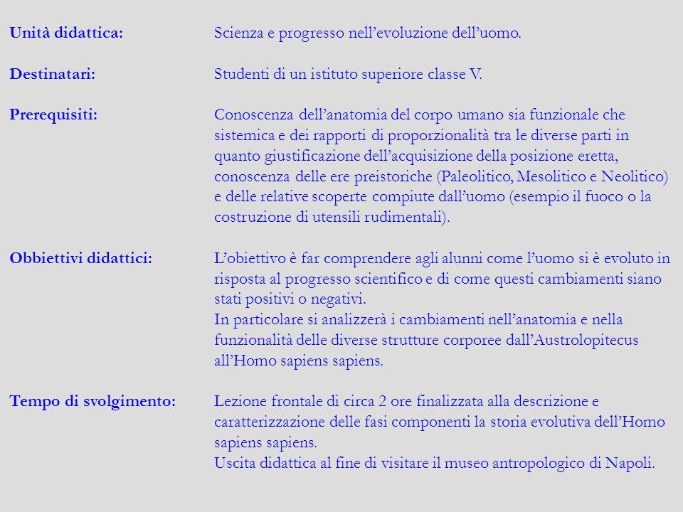 Unità didattica: Scienza e progresso nell'evoluzione dell'uomo.
