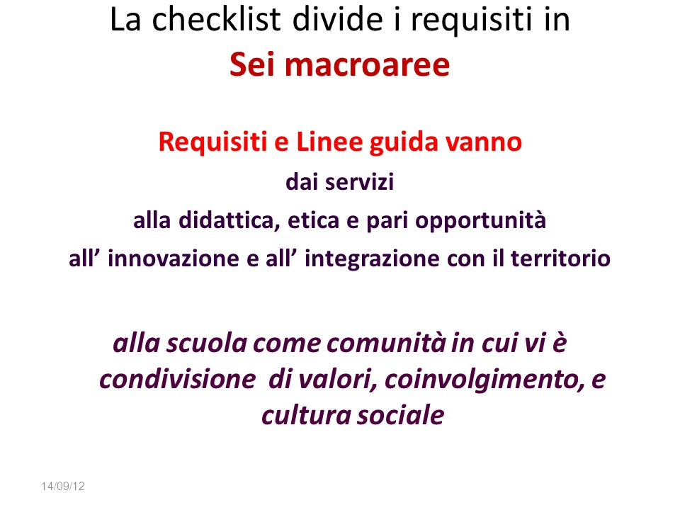 La checklist divide i requisiti in Sei macroaree