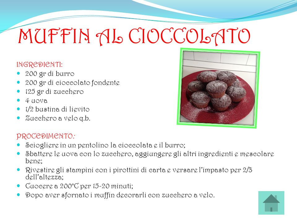 MUFFIN AL CIOCCOLATO INGREDIENTI: 200 gr di burro