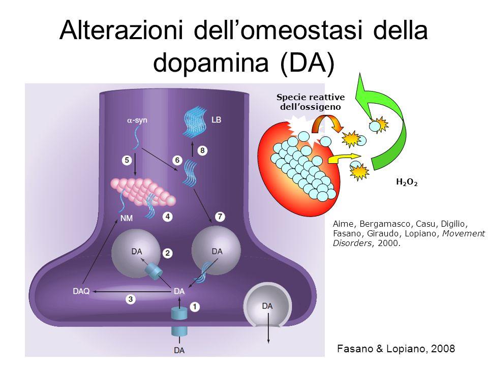 Alterazioni dell'omeostasi della dopamina (DA)