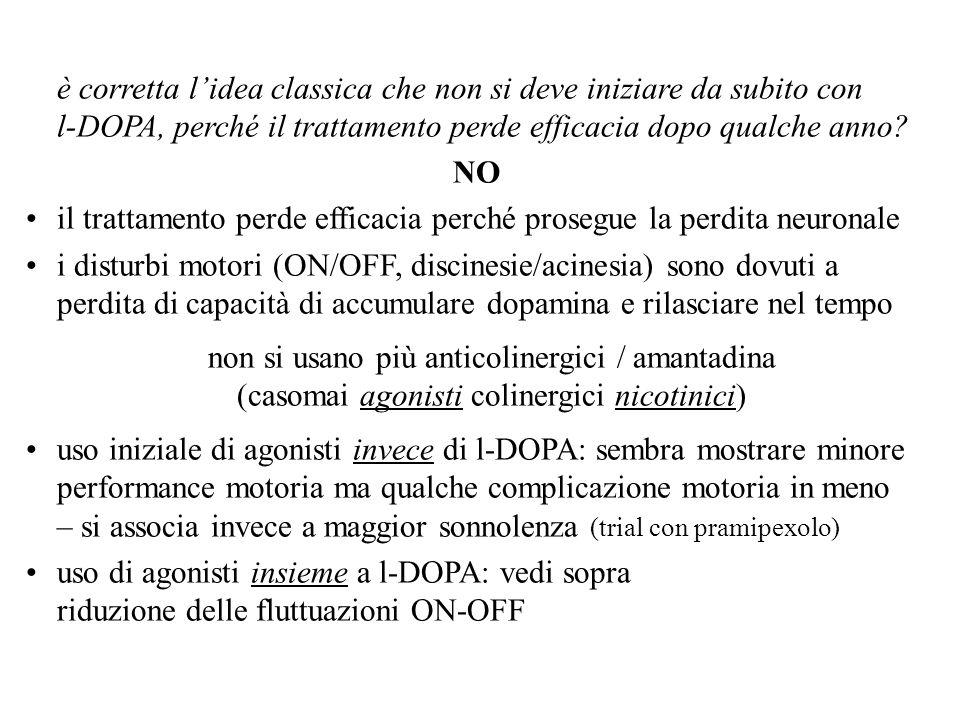 è corretta l'idea classica che non si deve iniziare da subito con l-DOPA, perché il trattamento perde efficacia dopo qualche anno
