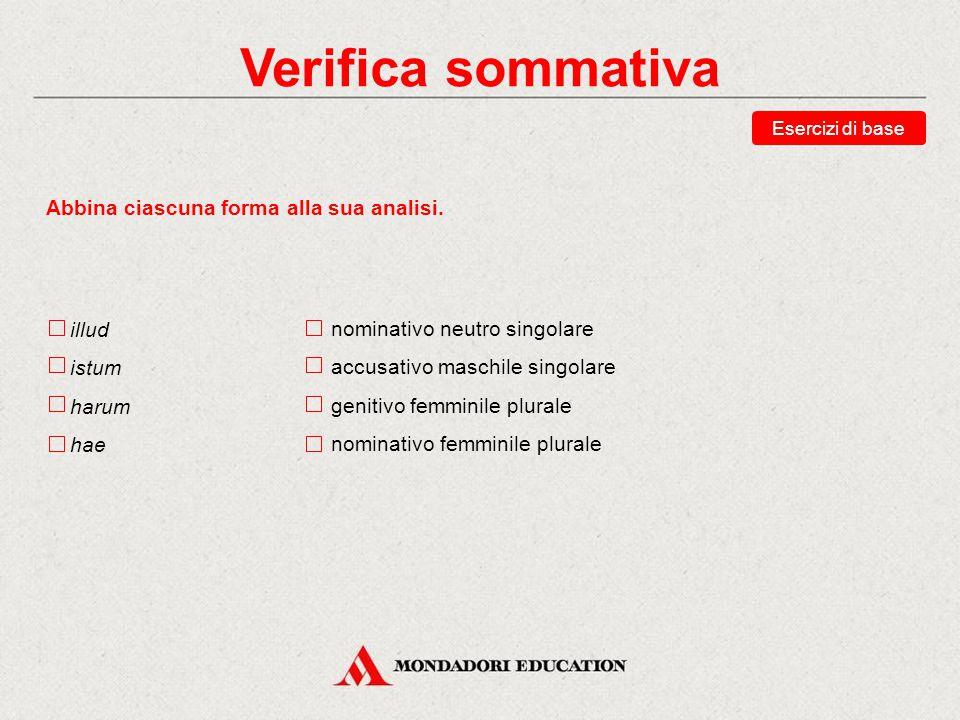 Verifica sommativa Abbina ciascuna forma alla sua analisi. illud istum
