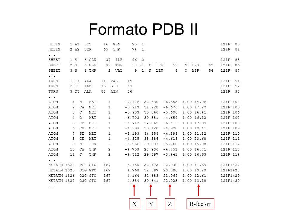 Formato PDB II X Y Z B-factor HELIX 1 A1 LYS 16 GLN 25 1 121P 80