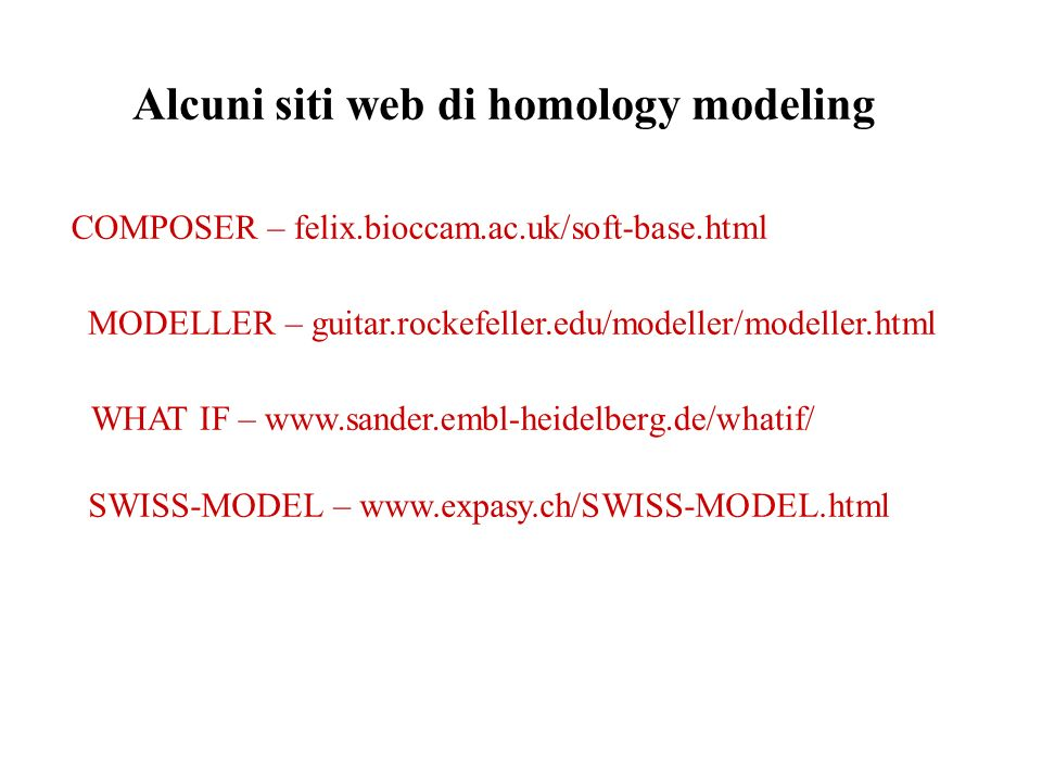 Alcuni siti web di homology modeling