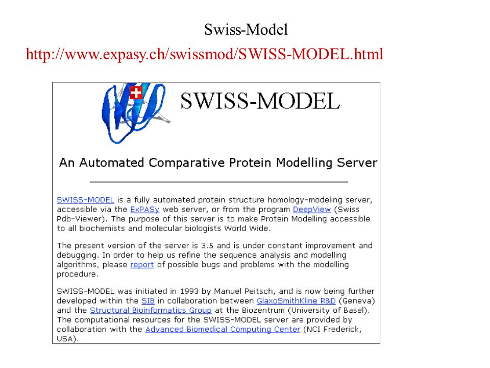 Swiss-Model http://www.expasy.ch/swissmod/SWISS-MODEL.html 19