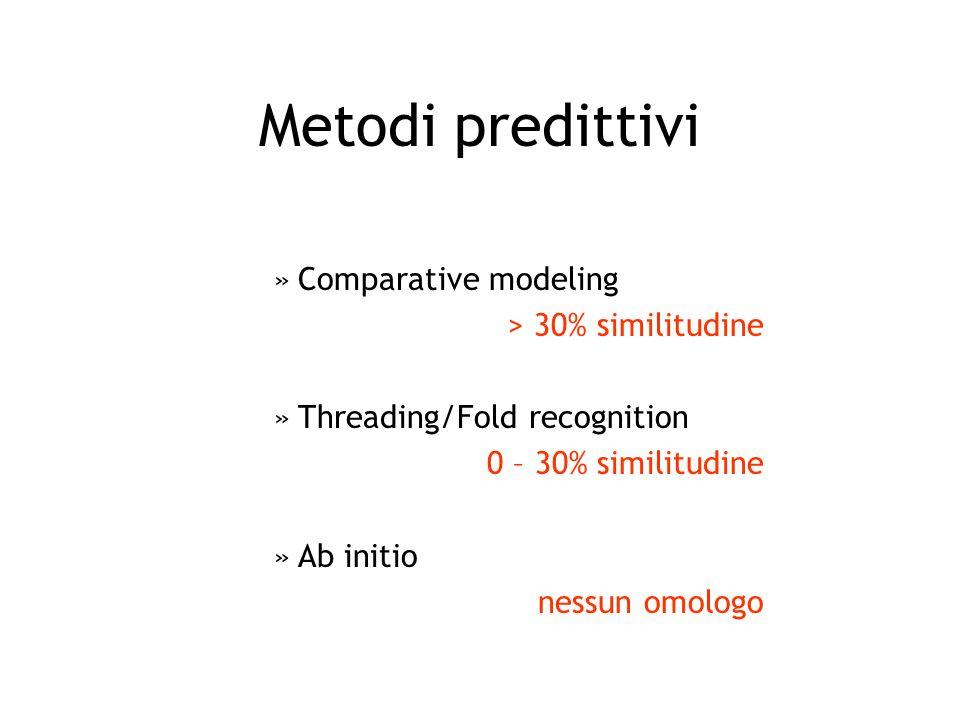 Metodi predittivi Comparative modeling > 30% similitudine