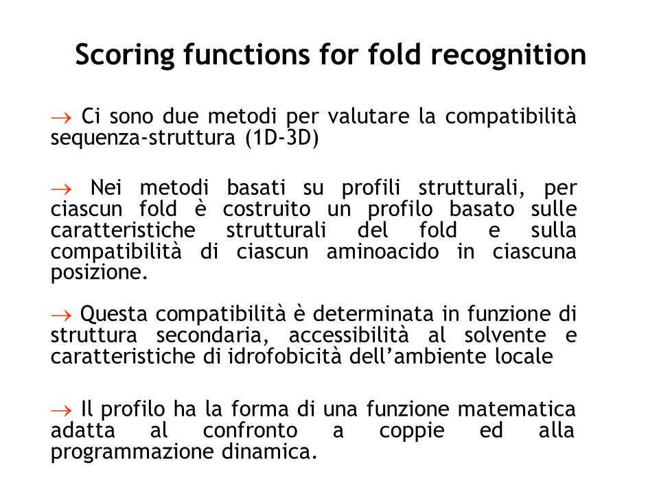 Scoring functions for fold recognition