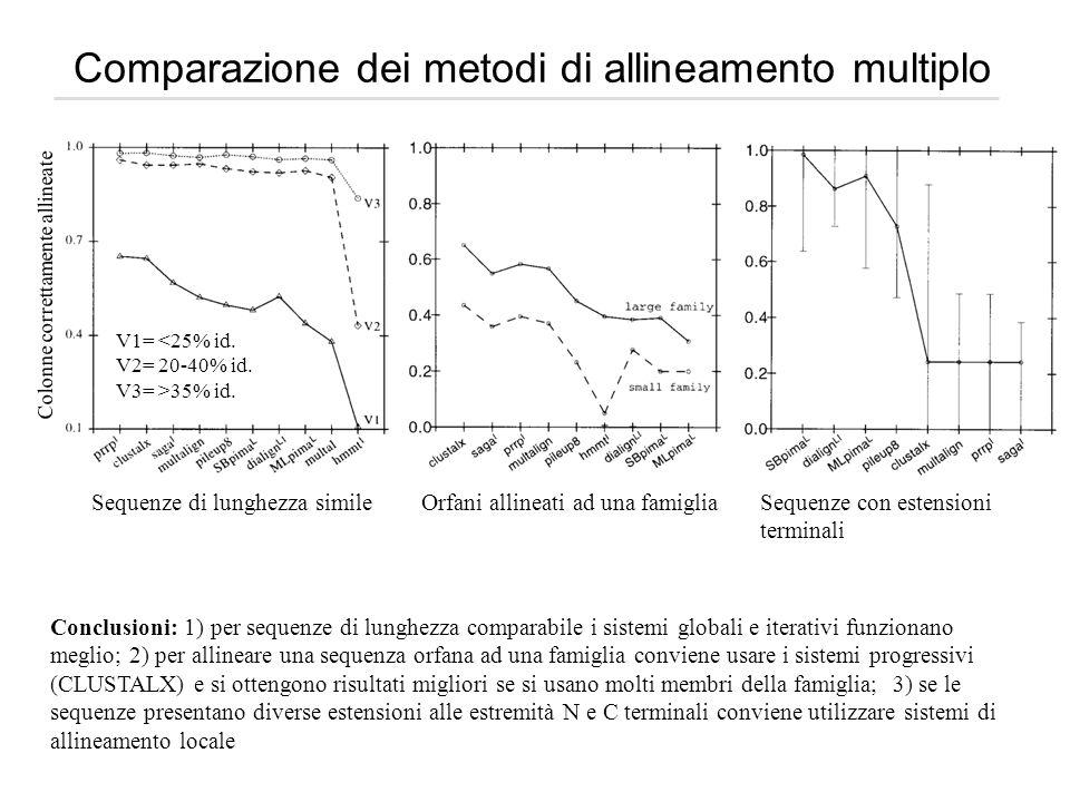 Comparazione dei metodi di allineamento multiplo