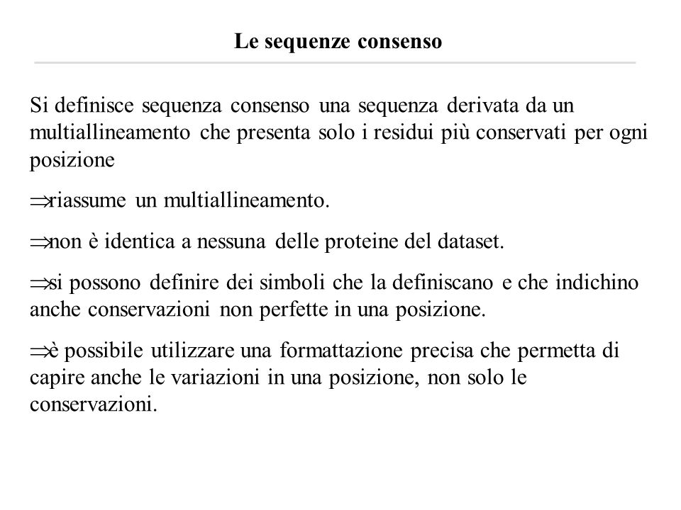 Le sequenze consenso