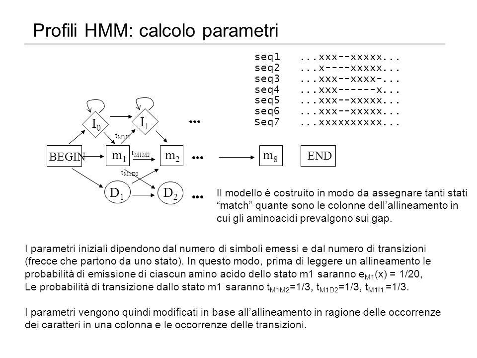 Profili HMM: calcolo parametri