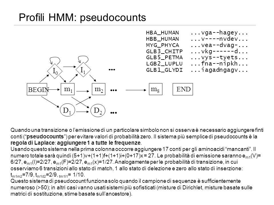 Profili HMM: pseudocounts