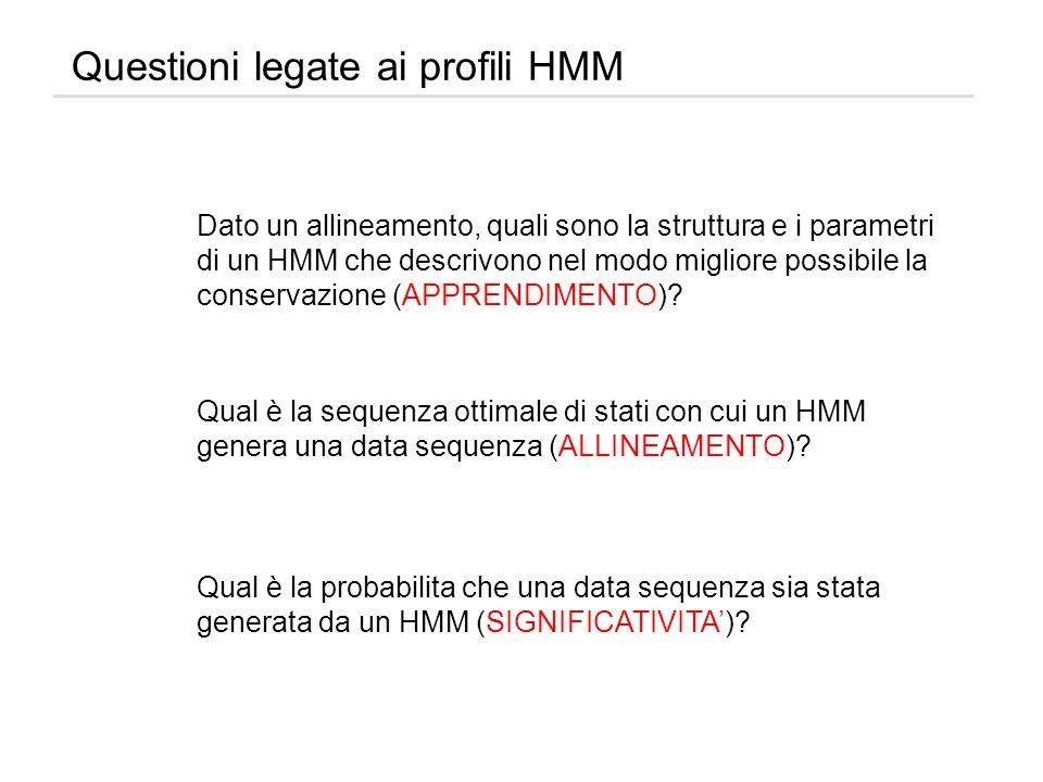Questioni legate ai profili HMM