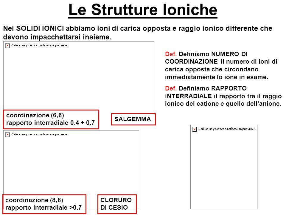 Le Strutture Ioniche Nei SOLIDI IONICI abbiamo ioni di carica opposta e raggio ionico differente che devono impacchettarsi insieme.