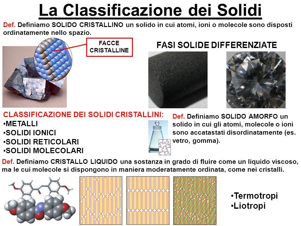 La Classificazione dei Solidi FASI SOLIDE DIFFERENZIATE
