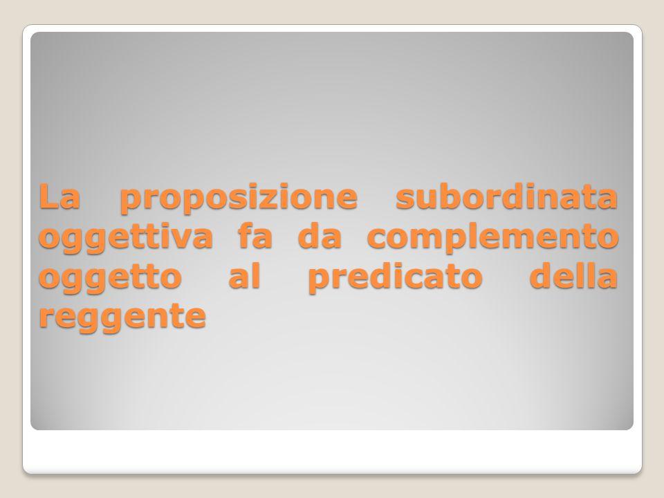 La proposizione subordinata oggettiva fa da complemento oggetto al predicato della reggente