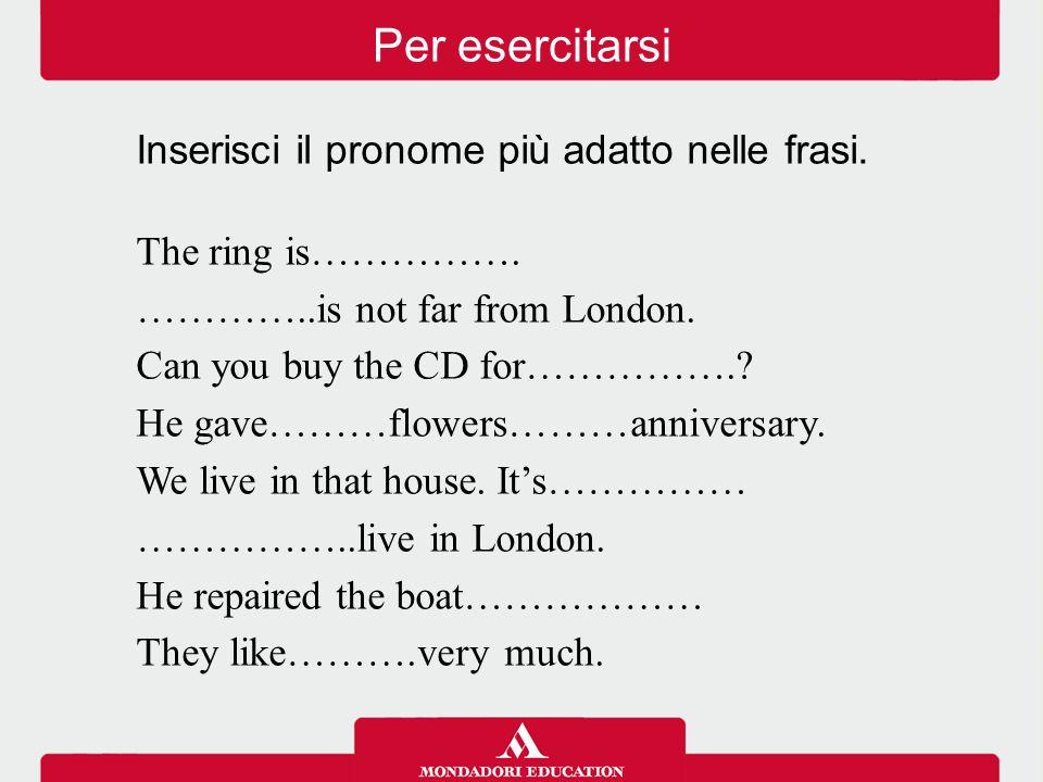 Per esercitarsi Inserisci il pronome più adatto nelle frasi.