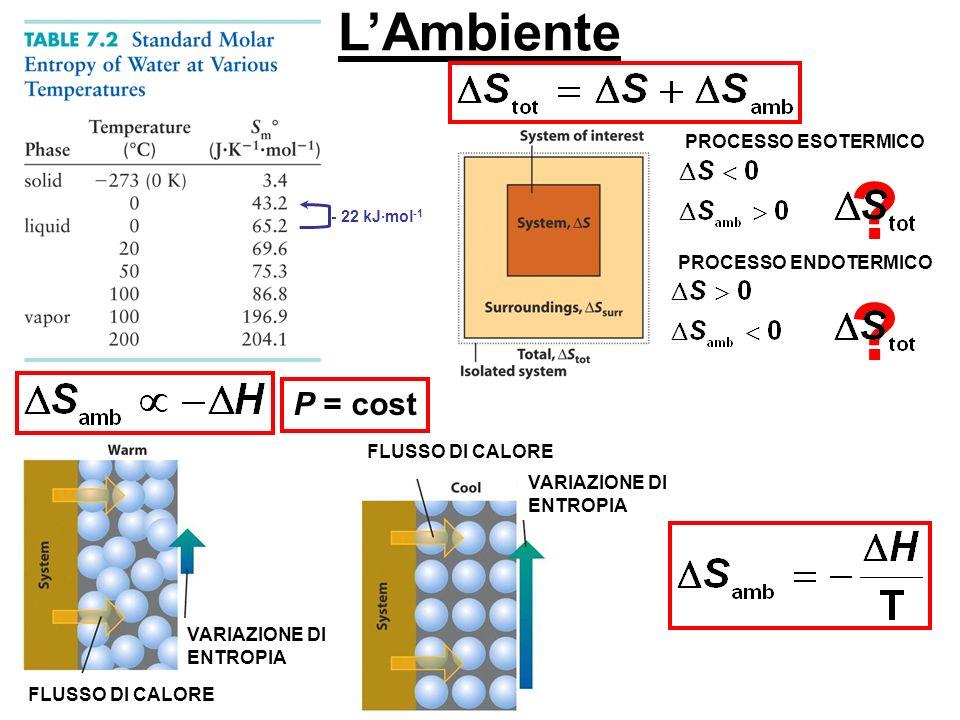 L'Ambiente P = cost PROCESSO ESOTERMICO PROCESSO ENDOTERMICO