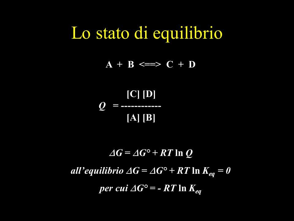 all'equilibrio DG = DG° + RT ln Keq = 0