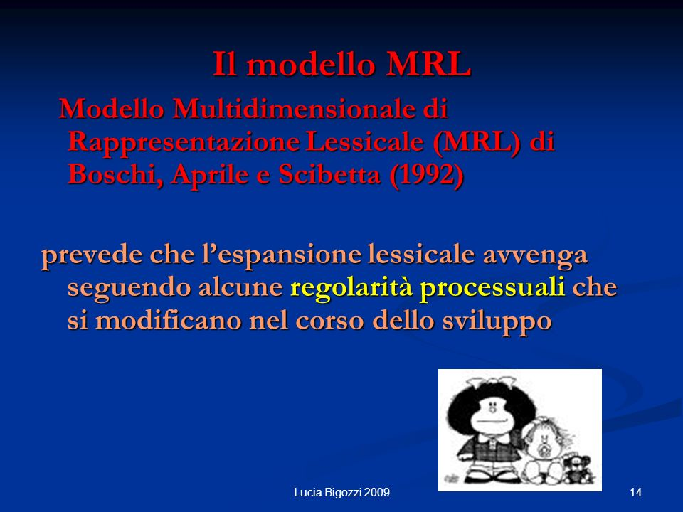Il modello MRL Modello Multidimensionale di Rappresentazione Lessicale (MRL) di Boschi, Aprile e Scibetta (1992)