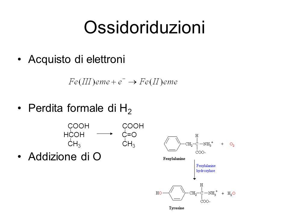 Ossidoriduzioni Acquisto di elettroni Perdita formale di H2