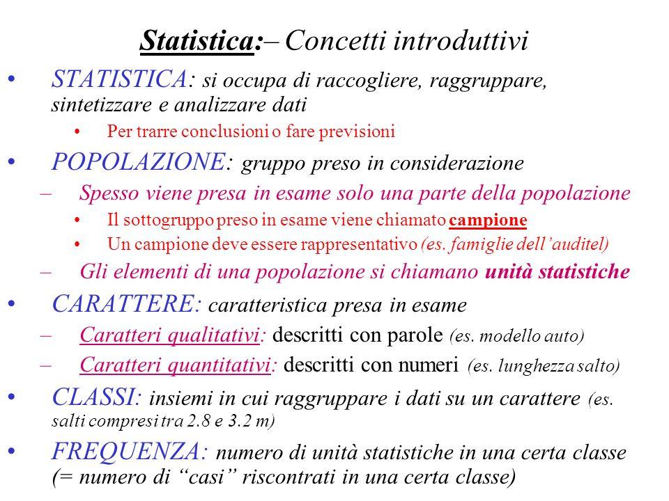 Statistica:– Concetti introduttivi