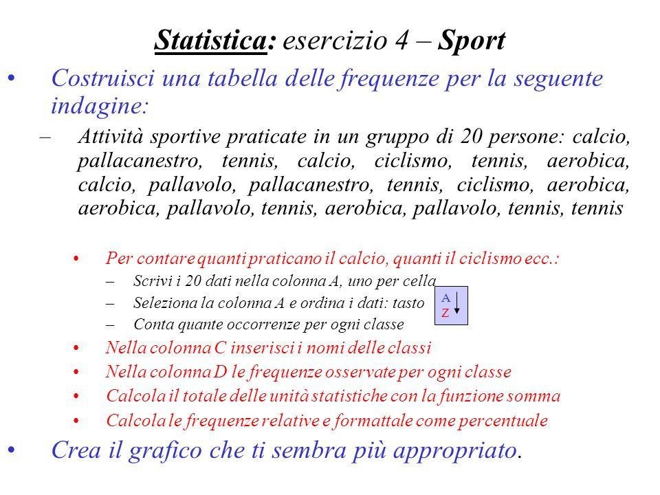 Statistica: esercizio 4 – Sport