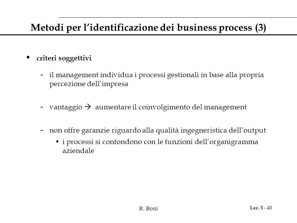 Metodi per l'identificazione dei business process (3)