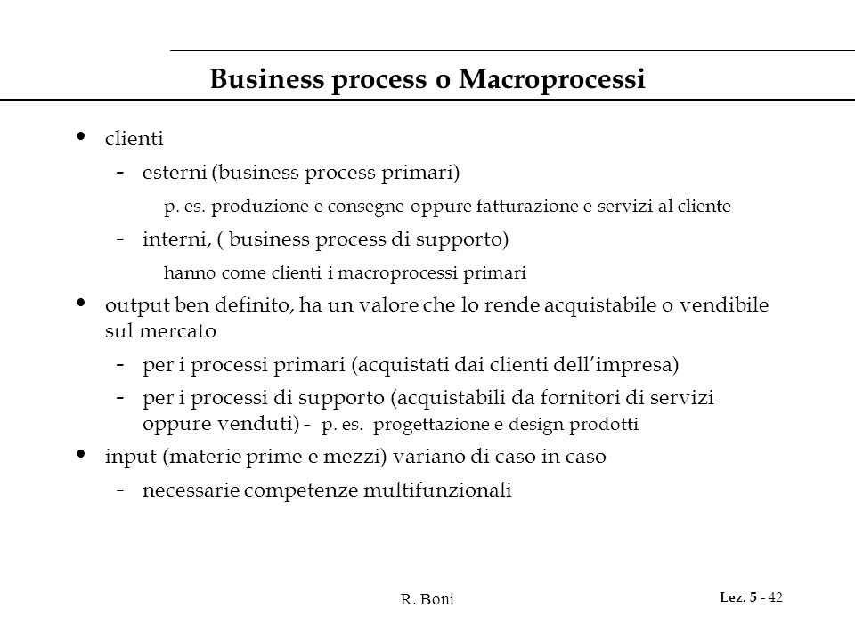 Business process o Macroprocessi