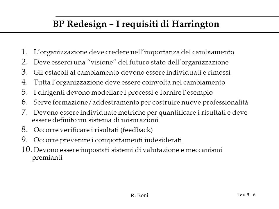 BP Redesign – I requisiti di Harrington