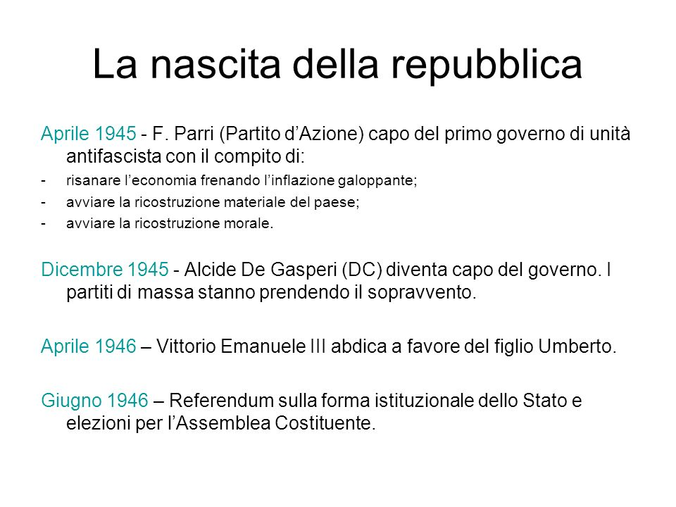 La nascita della repubblica