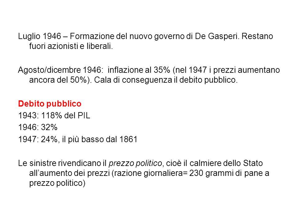 Luglio 1946 – Formazione del nuovo governo di De Gasperi