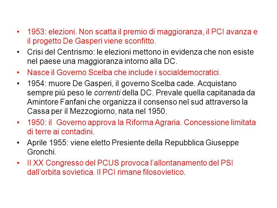 1953: elezioni. Non scatta il premio di maggioranza, il PCI avanza e il progetto De Gasperi viene sconfitto.