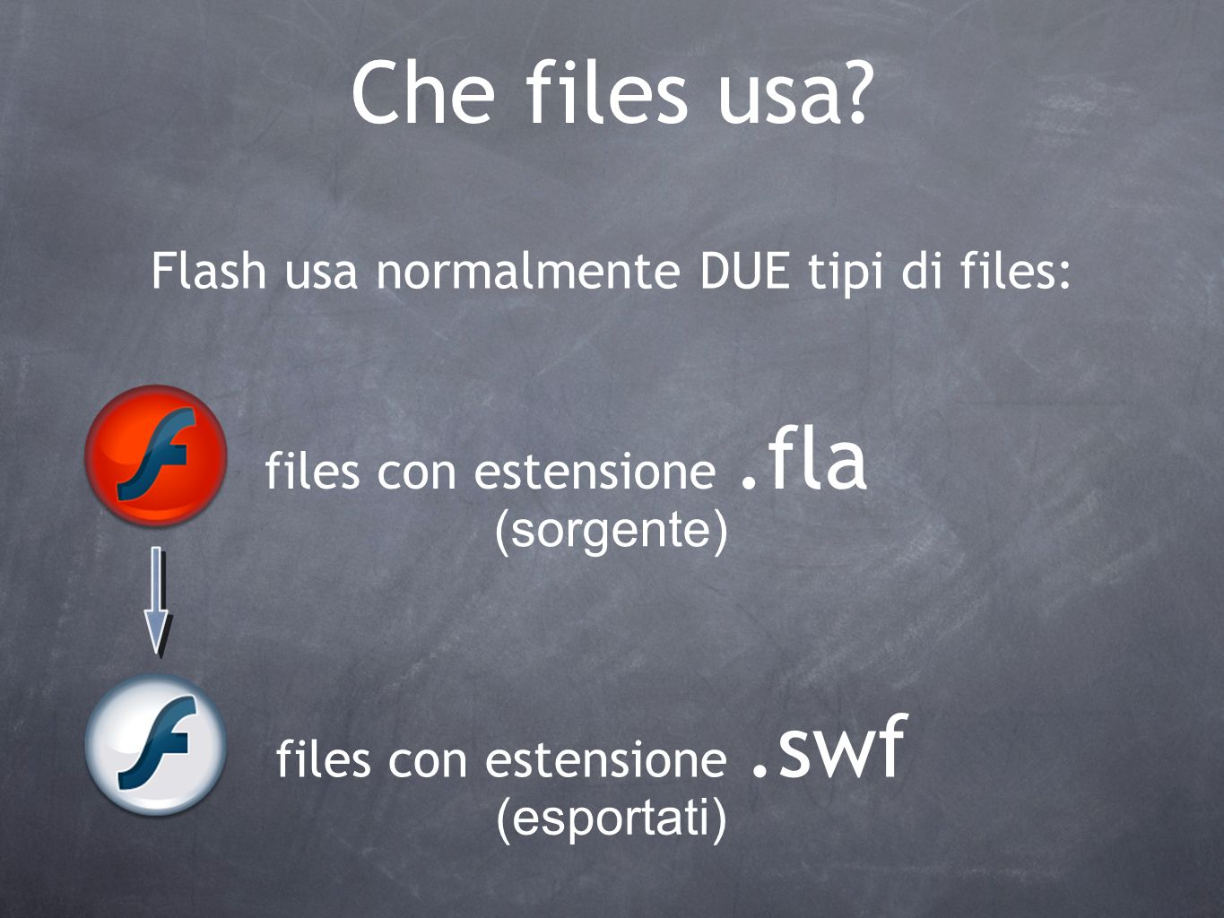 Che files usa Flash usa normalmente DUE tipi di files: