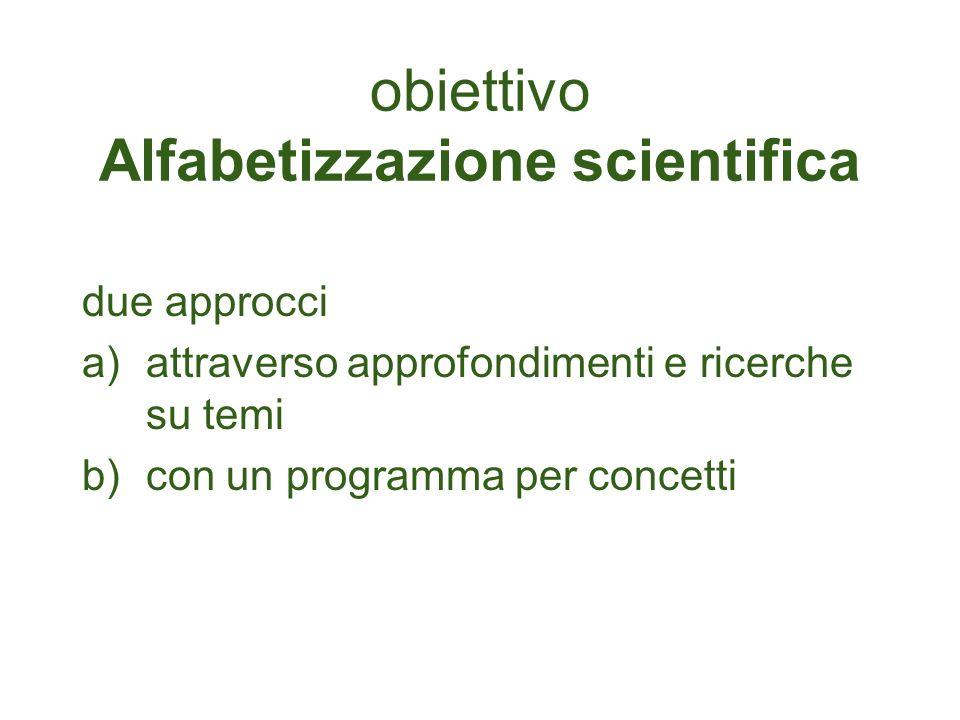 obiettivo Alfabetizzazione scientifica