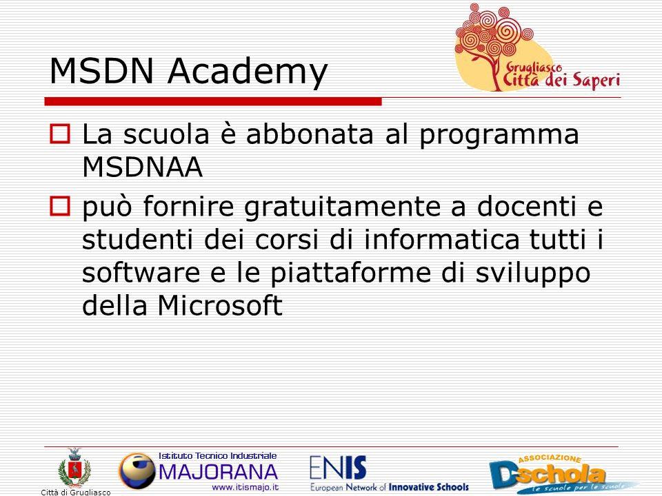 MSDN Academy La scuola è abbonata al programma MSDNAA