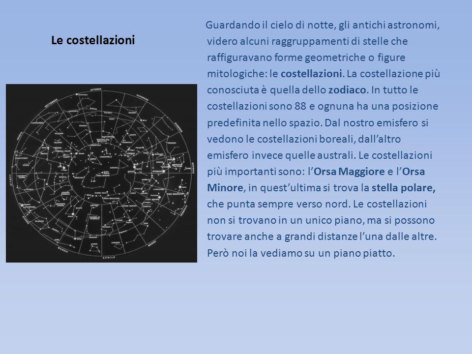 Guardando il cielo di notte, gli antichi astronomi, videro alcuni raggruppamenti di stelle che raffiguravano forme geometriche o figure mitologiche: le costellazioni. La costellazione più conosciuta è quella dello zodiaco. In tutto le costellazioni sono 88 e ognuna ha una posizione predefinita nello spazio. Dal nostro emisfero si vedono le costellazioni boreali, dall'altro emisfero invece quelle australi. Le costellazioni più importanti sono: l'Orsa Maggiore e l'Orsa Minore, in quest'ultima si trova la stella polare, che punta sempre verso nord. Le costellazioni non si trovano in un unico piano, ma si possono trovare anche a grandi distanze l'una dalle altre. Però noi la vediamo su un piano piatto.