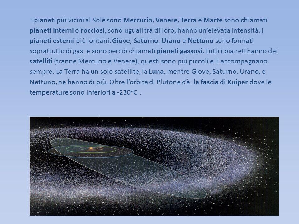 I pianeti più vicini al Sole sono Mercurio, Venere, Terra e Marte sono chiamati pianeti interni o rocciosi, sono uguali tra di loro, hanno un'elevata intensità. I pianeti esterni più lontani: Giove, Saturno, Urano e Nettuno sono formati soprattutto di gas e sono perciò chiamati pianeti gassosi. Tutti i pianeti hanno dei satelliti (tranne Mercurio e Venere), questi sono più piccoli e li accompagnano sempre. La Terra ha un solo satellite, la Luna, mentre Giove, Saturno, Urano, e Nettuno, ne hanno di più. Oltre l'orbita di Plutone c'è la fascia di Kuiper dove le temperature sono inferiori a -230°C .