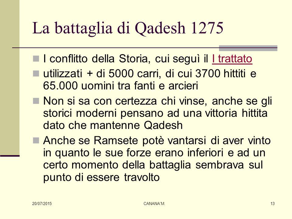 La battaglia di Qadesh 1275 I conflitto della Storia, cui seguì il I trattato.