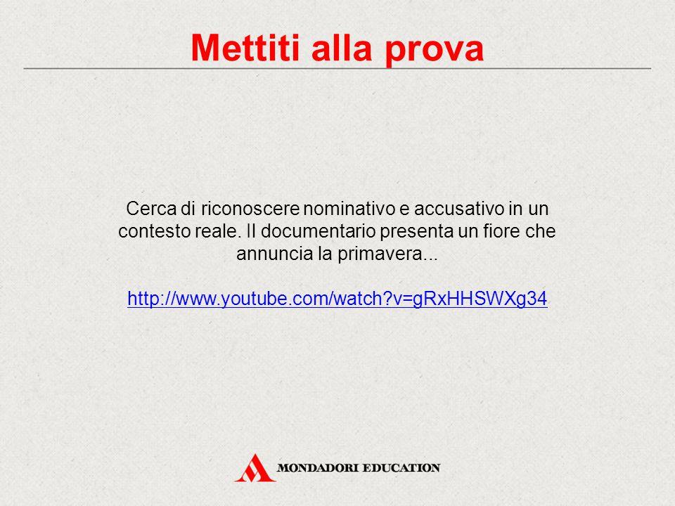 Mettiti alla prova Cerca di riconoscere nominativo e accusativo in un contesto reale. Il documentario presenta un fiore che annuncia la primavera...