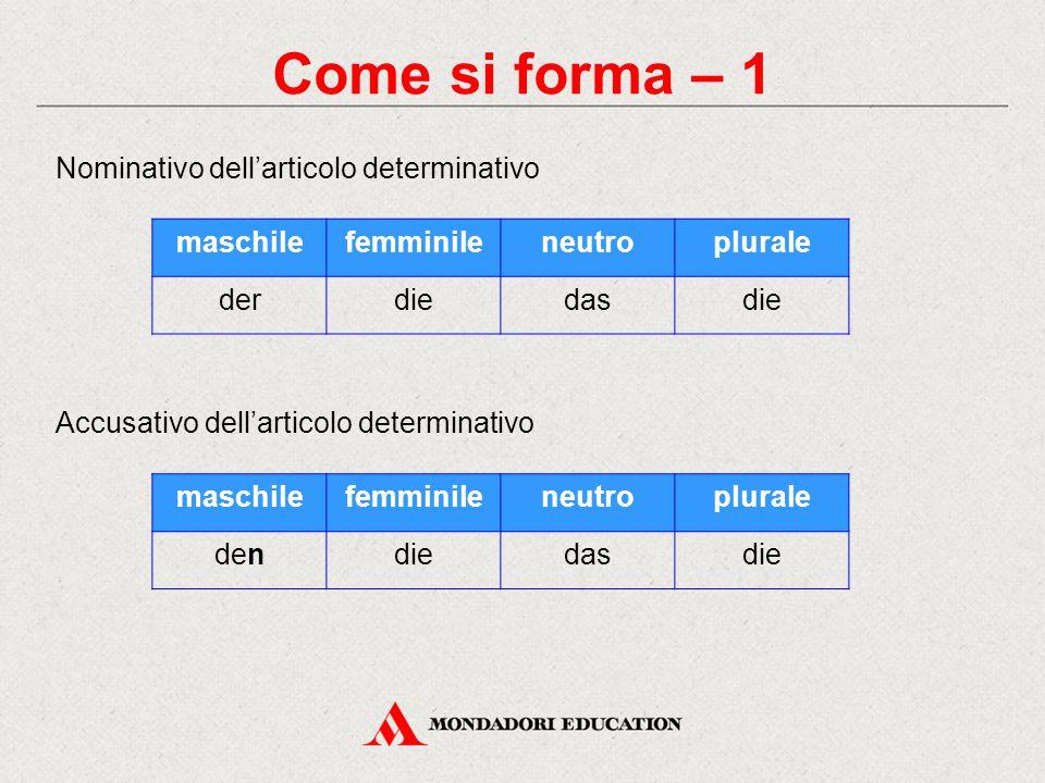 Come si forma – 1 Nominativo dell'articolo determinativo maschile