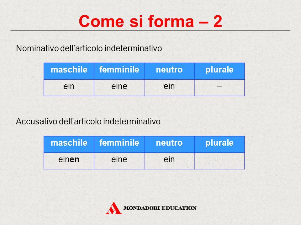 Come si forma – 2 Nominativo dell'articolo indeterminativo maschile
