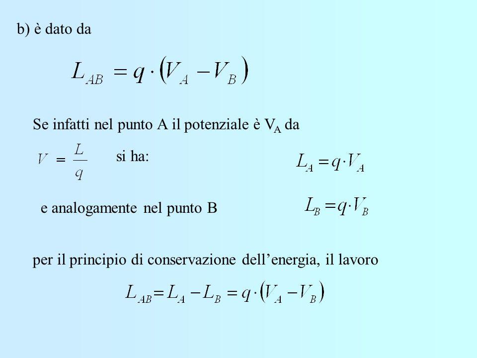 b) è dato da Se infatti nel punto A il potenziale è VA da. si ha: e analogamente nel punto B.