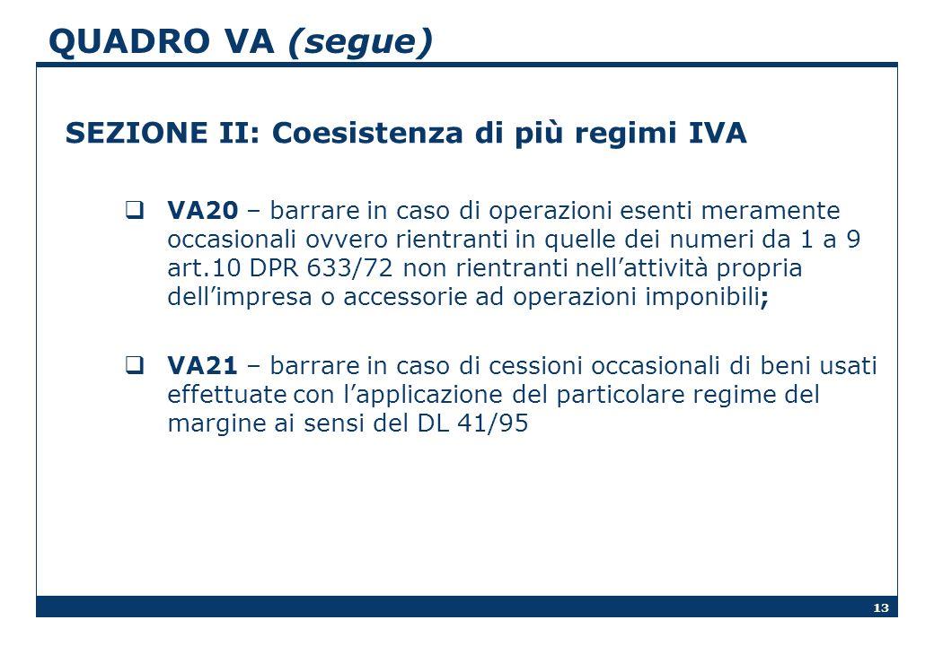 QUADRO VA (segue) SEZIONE II: Coesistenza di più regimi IVA