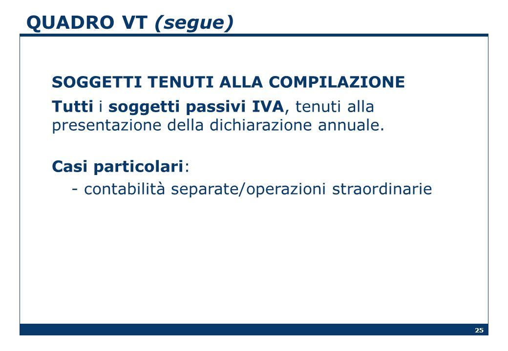 QUADRO VT (segue) SOGGETTI TENUTI ALLA COMPILAZIONE. Tutti i soggetti passivi IVA, tenuti alla presentazione della dichiarazione annuale.